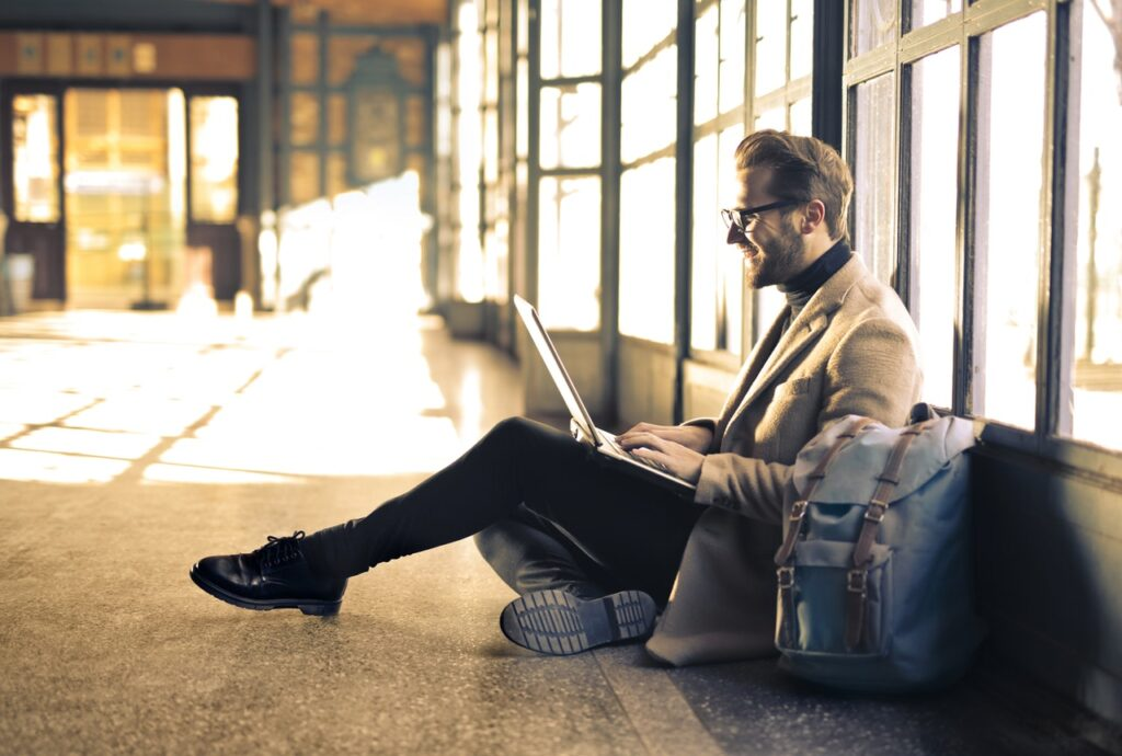 Man with great article writing ideas