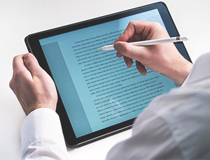 tablet used for online copywriting services
